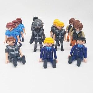 Image 3 - Playmobil 7cm exército polícia militar, figura de ação, modelo, moc, brinquedos, presente para crianças, estilo aleatório para venda x046