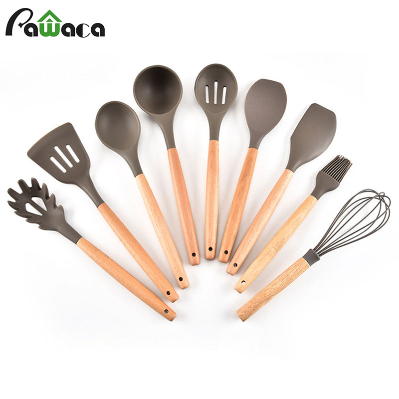 9pcs Silicone Cooking Utensil Set with Natural Wood Handle Kitchen Tools Gadgets Cookware