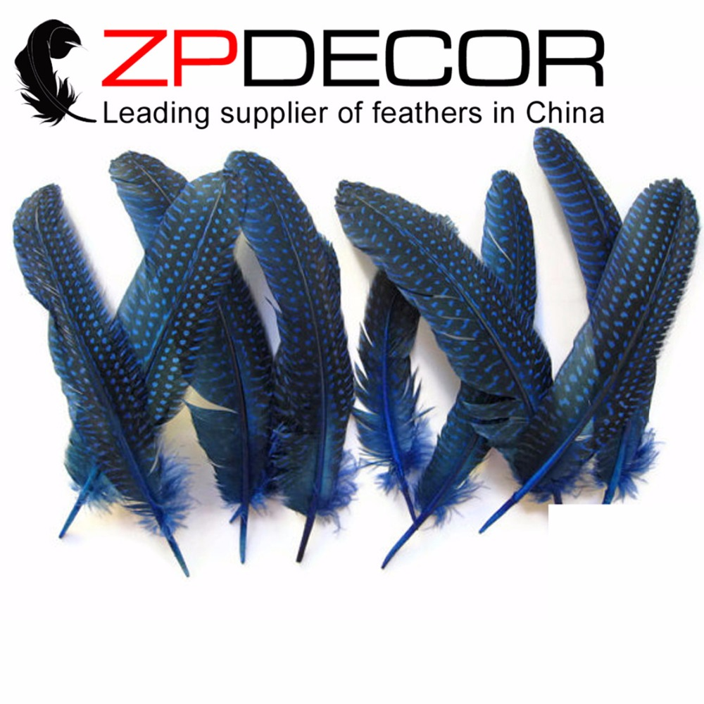Manufacturer ZPDECOR 6-8inch(15-20cm) 100pieces/lot Royal Blue Dyed Guinea Fowl Wing quills for DIY Decoration