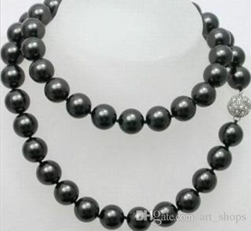 Hot 12mm Black Sea Shell Pearl Long Necklace 38''AAA+00008