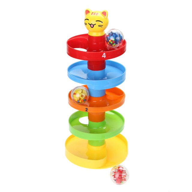 Baby Rolling Ball Puzzle Игрушки АБС-Пластик Младенческой Кучи Башня Головоломки Катящийся Шар Bell Укладчик Educationsl Игрушки для Детей Подарок