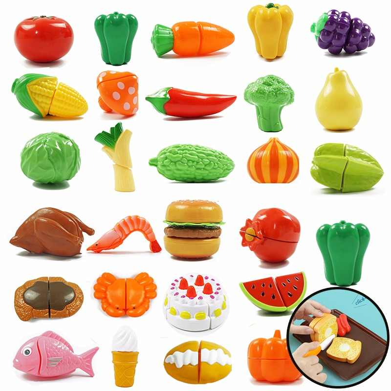 10 Pieces Miniature Kitchen Toys Fruit Vegetable Food Cutting Sets Reusable Pretend Kitchen Toys Children Gifts Role Play Toy