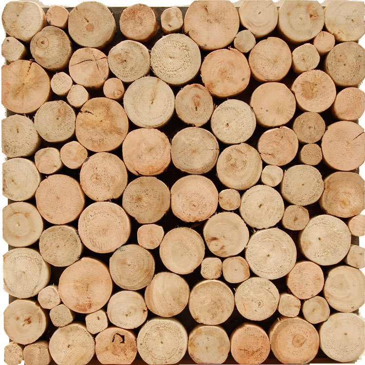 eucalyptus small round wood wooden WMM0003 backsplash tile bedroom wall  tile ancient wood mosaic panels mesh - Popular Wooden Floor Panels-Buy Cheap Wooden Floor Panels Lots