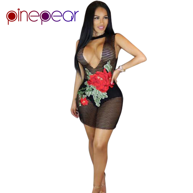 1ac42096d6 PinePear Sexy Ver Através Net Peixe Boate Vestido 2019 Mulheres Verão  Bordado Floral Night Party Clube