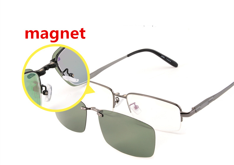 50a92bf9e1 eyeware frame men magnet polarized clip multi purpose glasses frame half optical  Spectacle frames aluminium magnesiumalloy91011 -in Eyewear Frames from ...