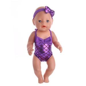Кукла ZWSISU, аксессуары для одежды, купальник Русалочки + повязка для волос с бантом, размер 43 см, Детская кукла, лучший подарок для детей