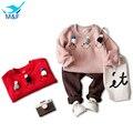 M & F Primavera Conjuntos de Roupas de Bebê Sorriso Dos Desenhos Animados Camisolas Quentes T-shirts + Calça Casual Crianças Meninas 2 pcs Roupas Ternos Para A Menina