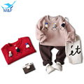 M&F Spring Baby Smile Clothing Sets Cartoon Warm Sweatshirts T-shirts+Casual Pants Girls Kids 2pcs Clothes Suits For Girl