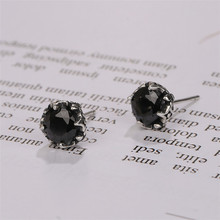 925 sterling silver jewelry black Natural stone earrings cut zirconia couple models wild