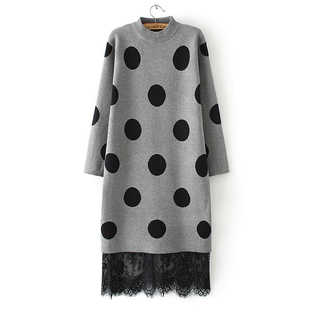 8215deaee31 Korean style autumn winter womens lace patchwork knitted sweater dress long  sleeve ladies polka dot dresses