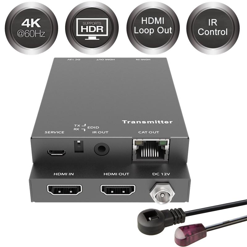 2019 18Gbps HDMI Extender 4K IR 4Kx2K@60Hz HDMI Extender 2 Port HDMI 2.0 Extender Loop HDMI Transmitter Receiver Over Cat6 RJ45