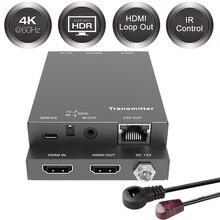 2020 18 гбит/с HDMI удлинитель 4K IR 4K x 2K @ 60 гц HDMI удлинитель 2 порта HDMI 2,0 удлинитель петля HDMI передатчик приемник более Cat6 RJ45