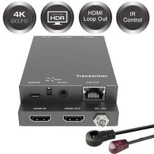 2020 18 gb/s przedłużacz HDMI 4K IR 4K x 2K @ 60Hz przedłużacz HDMI 2 Port HDMI 2.0 przedłużacz pętli HDMI nadajnik odbiornik przez Cat6 RJ45