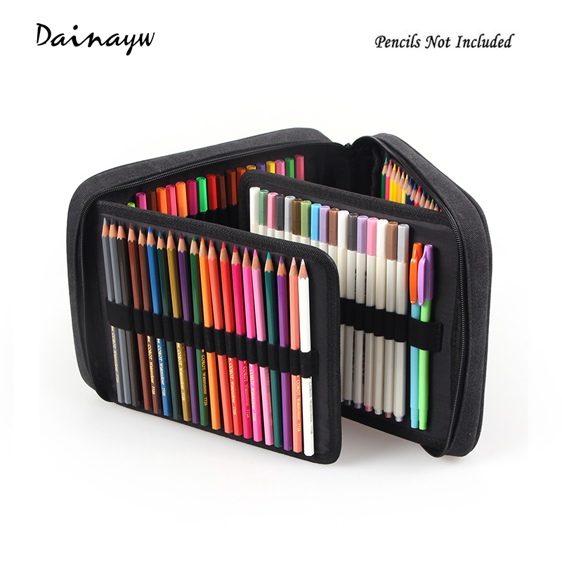 Large Capacity 120 Holders 4 Layer Portable School Pencils Case Canva Colored Pencil Bag School Astuccio For Gifts Art Supplies bubm cd holders receiving bags cover case cd trainborn organizer bag large capacity 80pcs dj package adapter big capacity