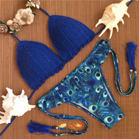 Blue Knitted Swimsuit Sexy Swimwear Women Summer Dress Handmade Crochet Bikinis Women Swimsuit Brazilian Push Up