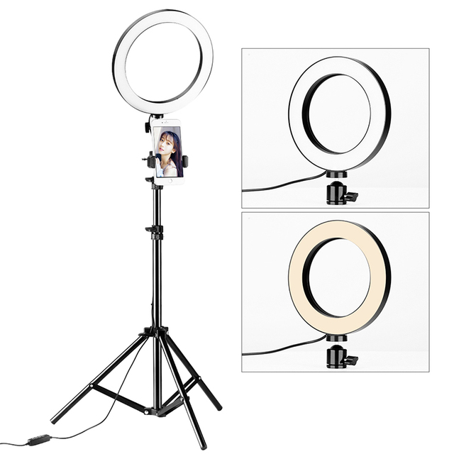 Photography Dimmable LED Sefie Ring Light Vlogging USB Plug Photo Video Lamp w LED Light Stand Tripod for Makeup Live Instagram