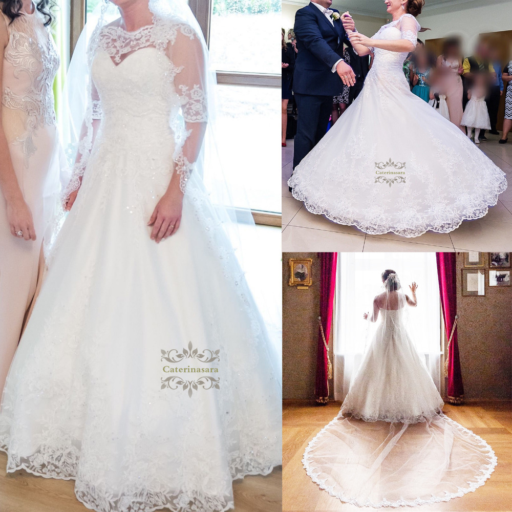 Ball Gown Illusion Half Sleeves Womens Wedding Dresses Sweetheart Floor Length Lace Over Tulle Girls Bride Gowns With Beadings