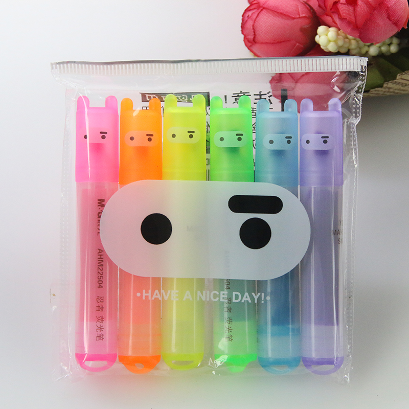 6 teile/paket, Großhandel Kreative Morgen Cartoon Nette Ninja Kaninchen Mini 6 Sticks Leuchtstoff Stift
