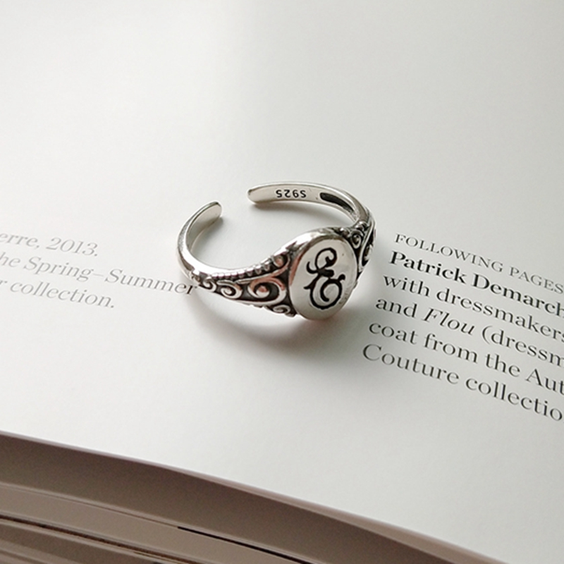 Fancy letters 925 sterling silver openwork rings vintage style design trendy personality rings for women 2018 charms jewelry