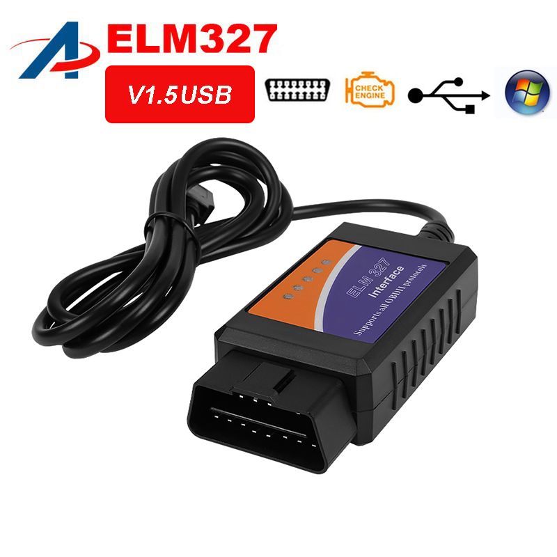 2018 Best Quality ELM327 USB Cables Adapter For Most OBD2 Vehicles OBD2  Diagnostic Scanner ELM 327 USB OBD2 Scan Free Shipping-in Code Readers &  Scan