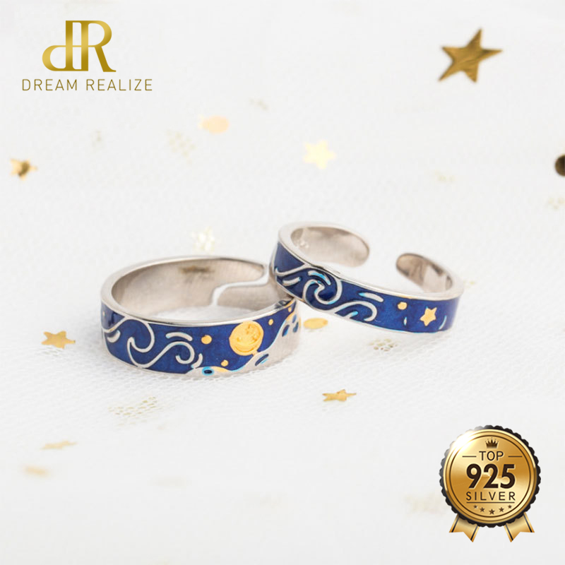 DR Van Goghs Enamel Couple Rings Jewelry 925 Silver Glitter Sky Gold Moon Star Sun Canvas Finger S925 Ring Romantic for WomenDR Van Goghs Enamel Couple Rings Jewelry 925 Silver Glitter Sky Gold Moon Star Sun Canvas Finger S925 Ring Romantic for Women