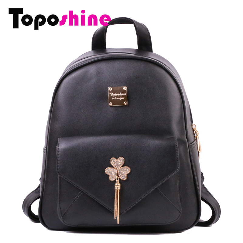 Toposhine Fashion Women Backpack Heart Shape Diamonds And Tassel Girls School Bag Soft PU Leather Solid