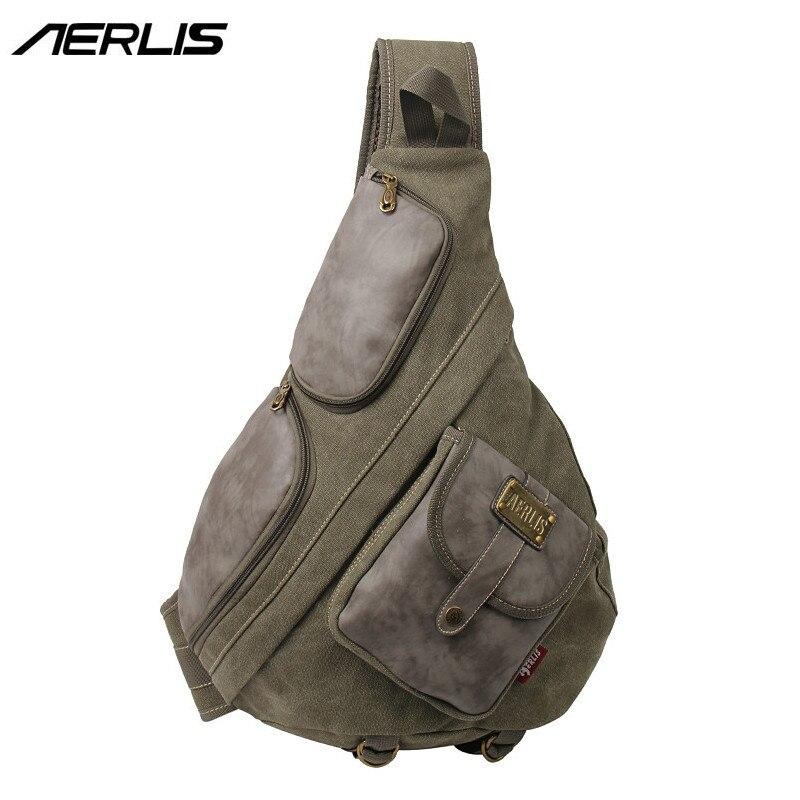 8880d08aeb07e2 AERLIS Men Vintage Canvas Leather Shoulder Backpack Travel School Sling  Military Bag Large Teenager Rucksack Women