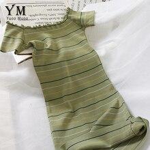 YuooMuoo новое летнее модное женское тонкое трикотажное платье с открытыми плечами зеленое Полосатое облегающее платье-футляр милые вечерние Платья Миди