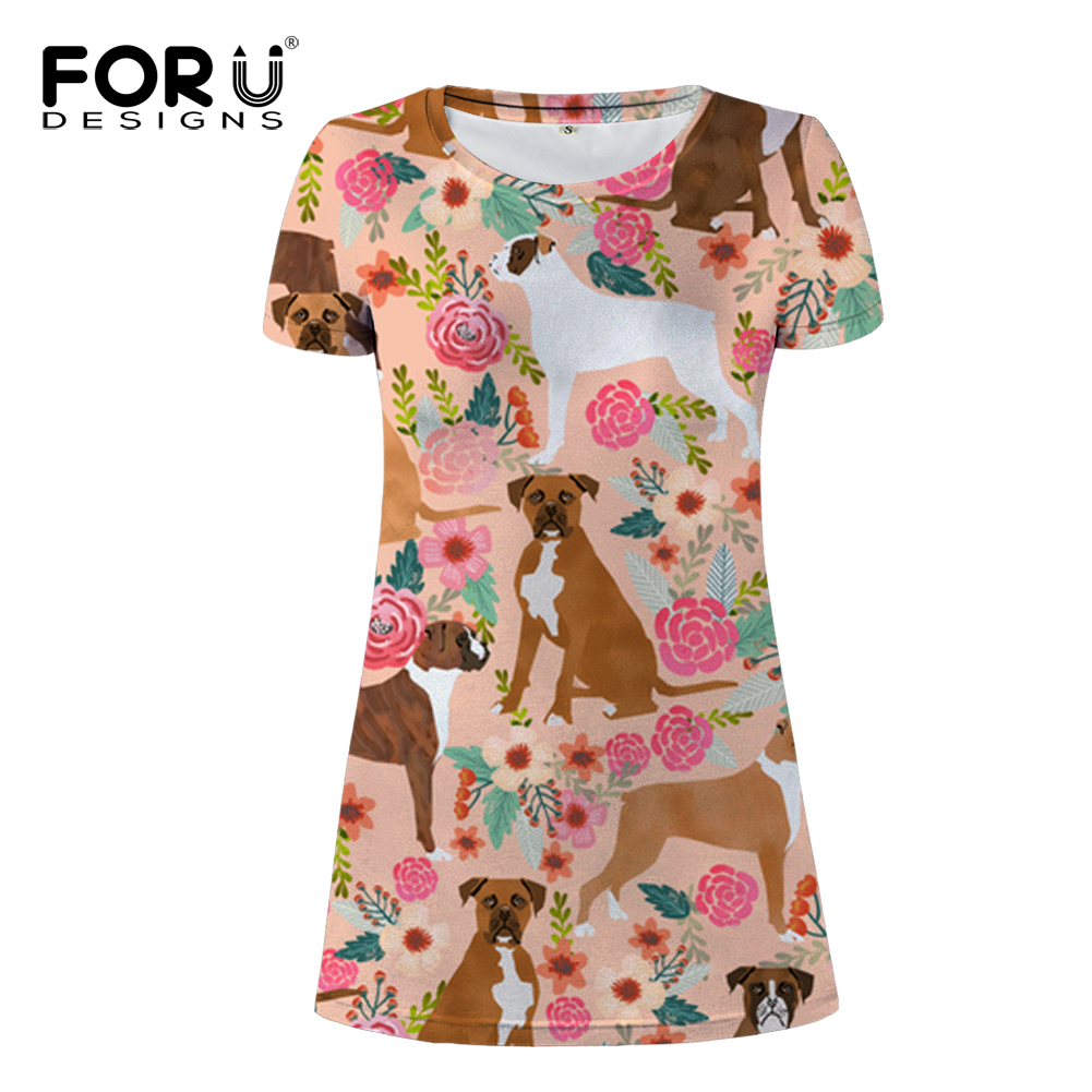 FORUDESIGNS Women Mini Dress Boxer Dog Print Ladies Cartoon Puppy Lovely Beach Dress Females Kawaii Party Cloth for Teen Girls
