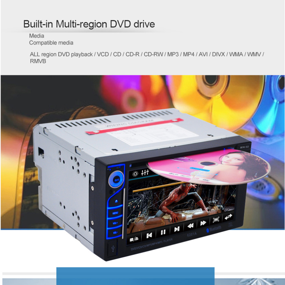 Hot! New Professional 6.2 Inch 6201A Audio DVD SB / SD Bluetooth 2-Din Car CD Player with Automatic Memory Play Car DVD Player