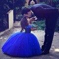 2017 Azul Real Vestidos de Niña para La Boda de Cenicienta Vestido de Las Muchachas Niños de La Princesa vestido de Bola Del Partido Vestido de Primera Comunión