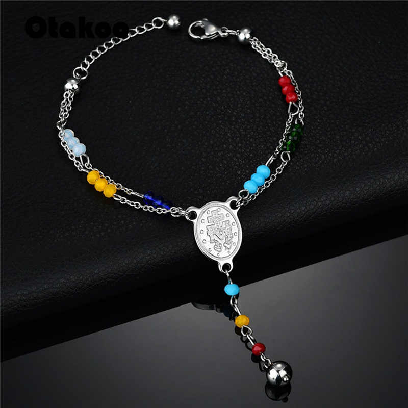 Otakoo Stainless Steel Rosary Bracelet New Top Quality Women Bead Bracelet With Cross Jesus Pendant Religious Catholic Bracelet