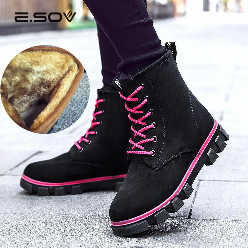 Brand Fur Warm Martin Boots Snow shoes Winter Wild Motorcycle Boots Women Lace Up Flats Ankle Boots for women Slip On Shoes 2017
