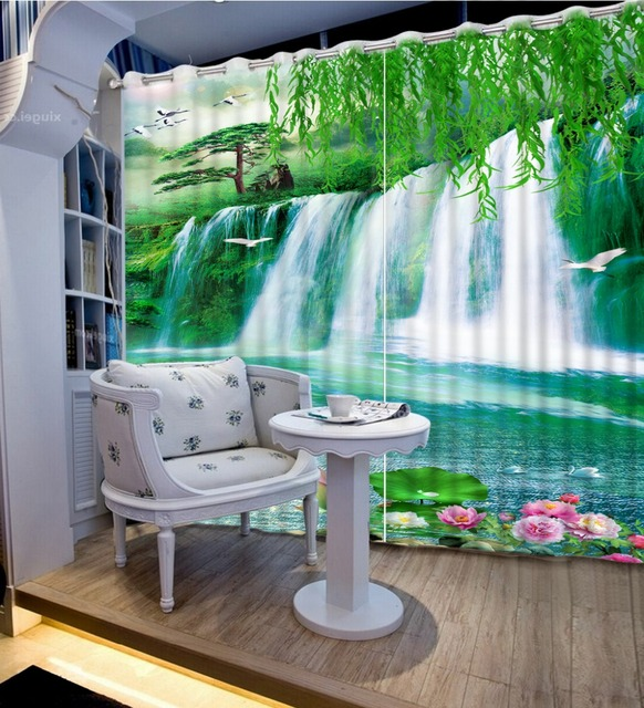 3d Curtains Custom Curtains Waterfalls Nature Landscapes Willow Lotus  Fashion Home Decor Flower Curtains For Living