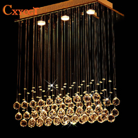 Modern led Rectangular K9 Crystal Chandeliers Lighting for Dining Room Bedroom Living Room Ceiling Lamp