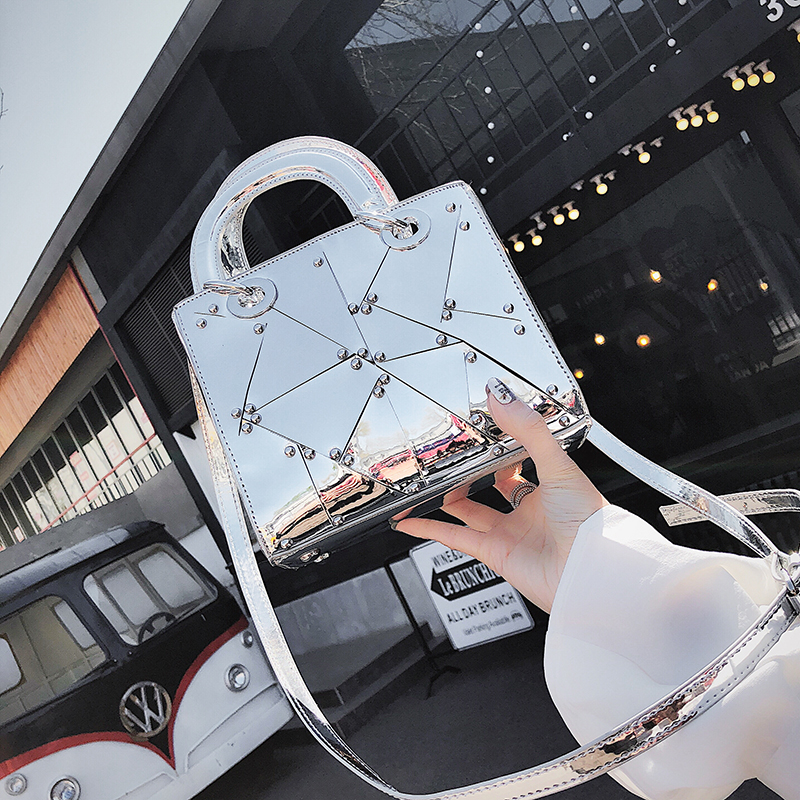 Bild von British Fashion Female bag 2018 Summer Fashion New Handbag Tote bag High quality PU Leather Women bag Mirror Handle Shoulder Bag