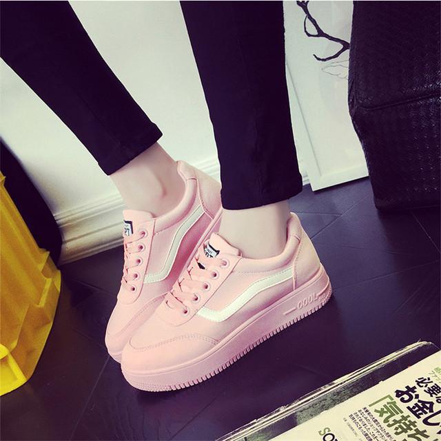 La sra. victoria 2017 Nueva Primavera Otoño zapatos de Lona Para Mujer Casual Zapatos Con Cordones de Las Señoras de La Manera Zapatos de Plataforma Pisos High top Zapatos de las mujeres