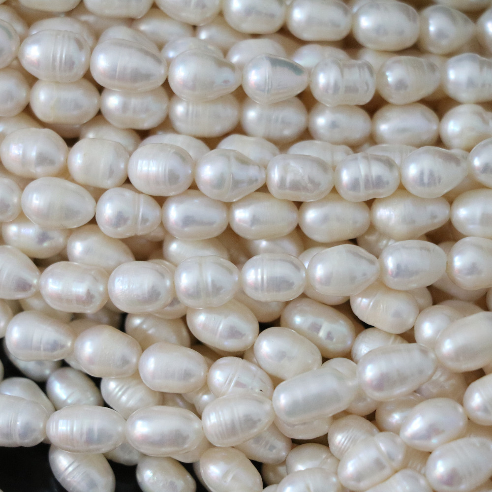 Top quality 7-8mm natural white freshwater pearl beads rice charms elegant fashion diy women gift jewelry 15inch B1340