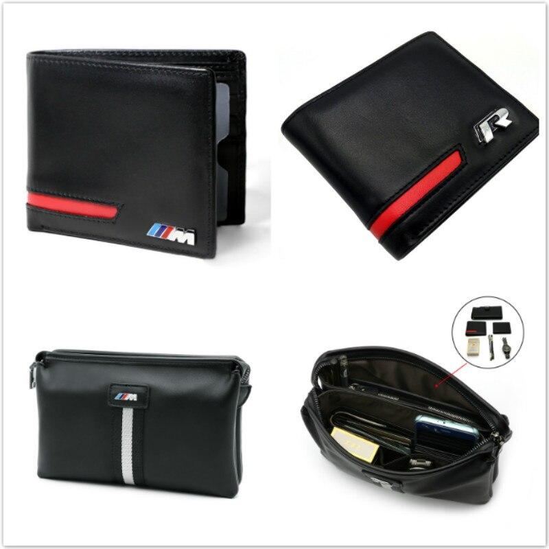 Genuine Leather Men Wallet Car Driver License Bag For BMW E46 E39 E60 E90 E36 F30 F10 X5 E53 E34 E30 VW CC Passat B5 B6 Golf 5 7