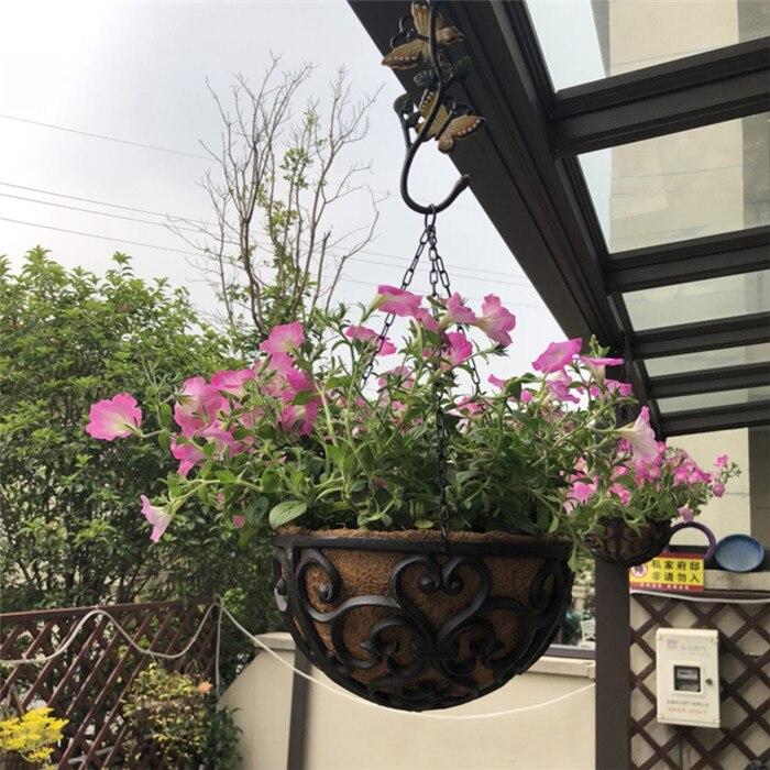Fonte Paniers Suspendus Rond De Jardin de Mur de support de pot de fleur Plante Planteur Support Lourd En Métal Intérieur Extérieur Balcon Cintre