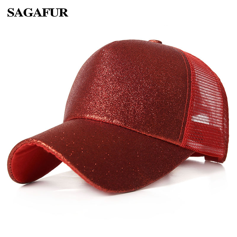 1e5923e2c80 2019 Ponytail Baseball Cap Women Messy Bun Snapback Summer Mesh Hats Casual  Sport Sequin Caps Drop