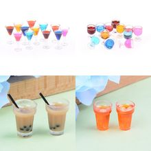 2pcs/lot Wine Glass Cup Tableware Set Dollhouse Miniature Toy Doll Food Kitchen Living Room Accessories 1:12 Scale(China)
