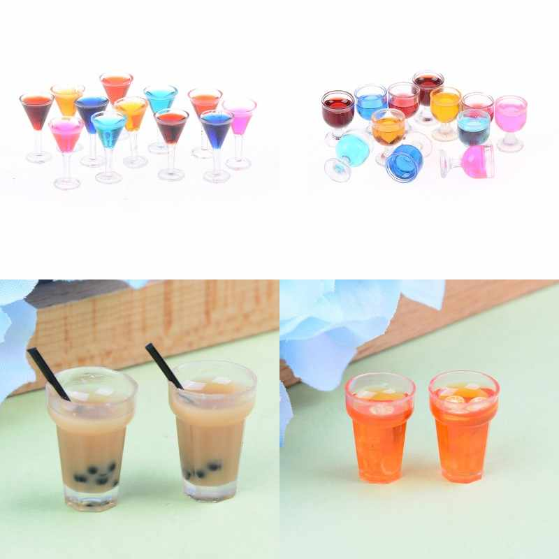 2pcs/lot Wine Glass Cup Tableware Set Dollhouse Miniature Toy Doll Food Kitchen Living Room Accessories 1:12 Scale