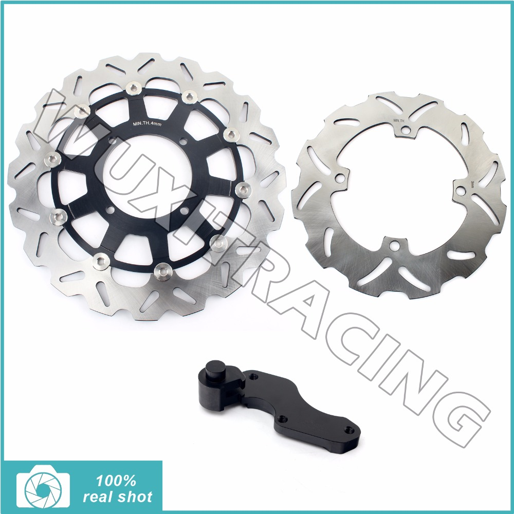1 Set Black Motorcycle Oversize 320MM Front Rear Brake Disc Rotor Bracket Adaptor for SUZUKI RMZ250 RMZ 250 04 05 06 2004-2006