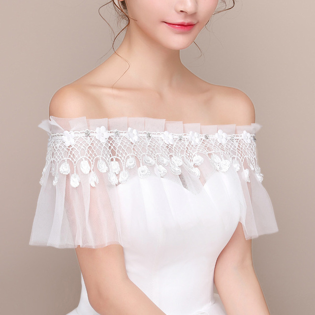77629f5129 2019 New Spring Summer Bridal Shawl Lace Flower Bride Shawl Wedding Dress  Accessories Off the Shoulder Beaded Crystal