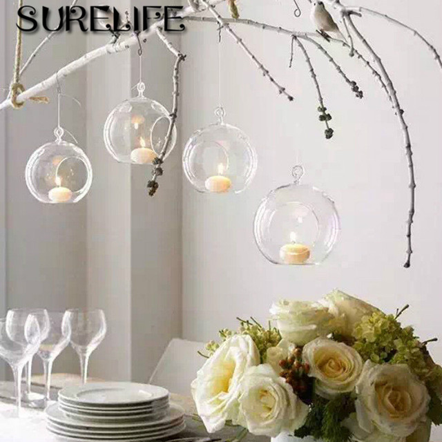 18pcs Lot Hanging Tealight Holder Gl Globe Terrarium Candle Holders Candlestick Home Bar Wedding Decoration In From Garden On