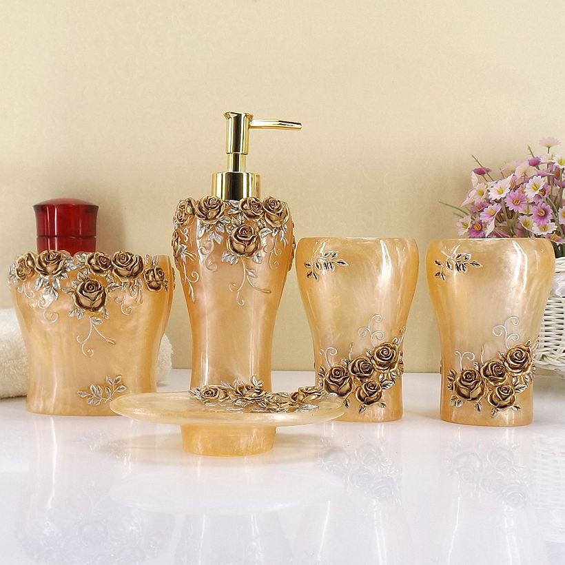 Rose jardin salle de bains accessoires 5 pièces résine artisanat salle de bain Suite style européen salle de bain ensembles lavage fournitures comme cadeau de mariage