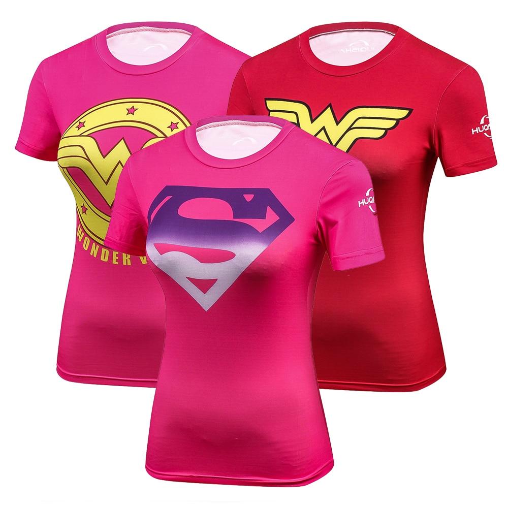 הנערה של גיבורי העל נשים T חולצת סופרמן באטמן קפטן אמריקה אישה חולצת טריקו ילדה של פלא 3D כושר לספוג זיעה גרבונים