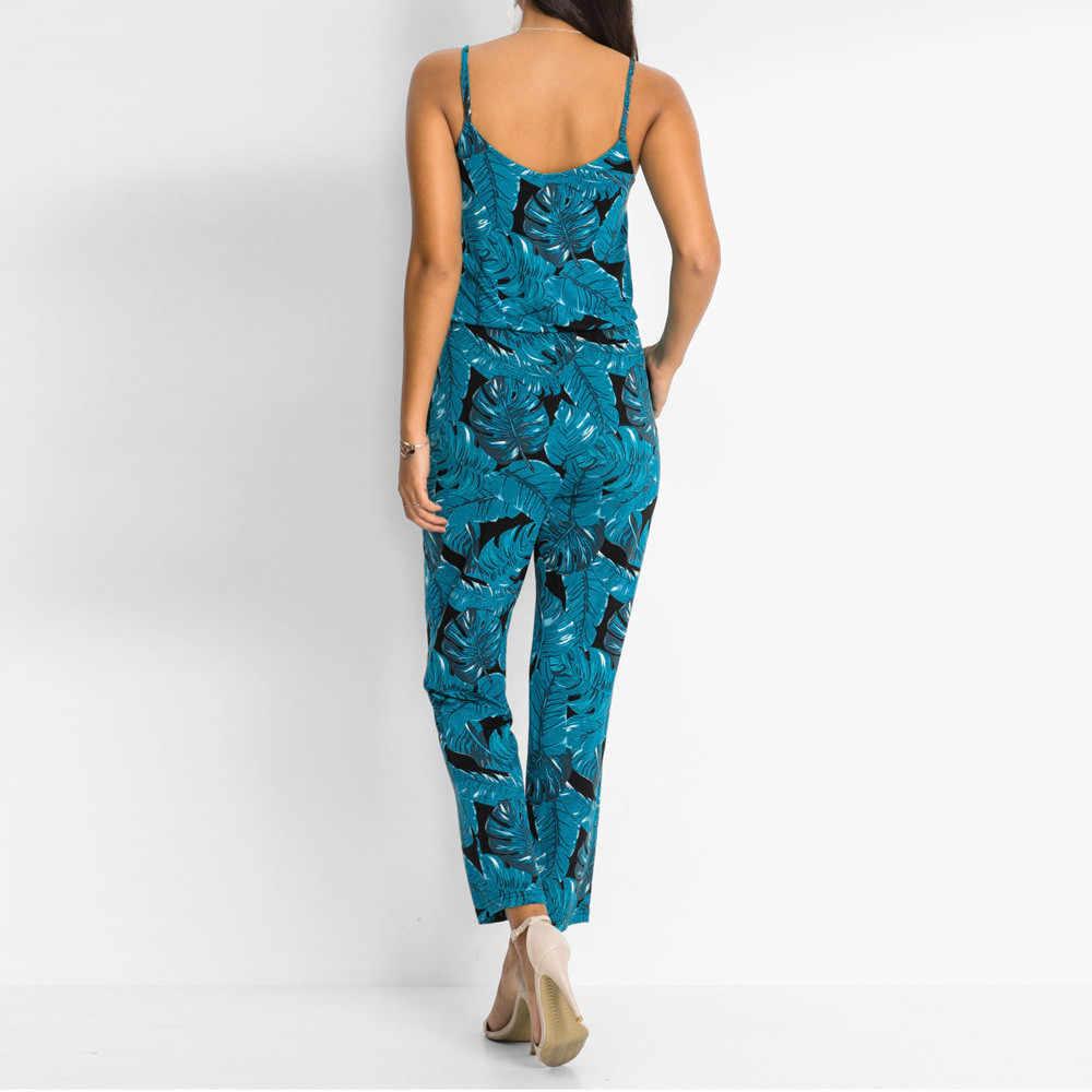 Для женщин Boho листья комбинезон Повседневное без рукавов Цветочный, отпечатанный, винтажный сексуальный длинный комбинезон элегантные пляжные вечерние комбинезон macacao # ssw