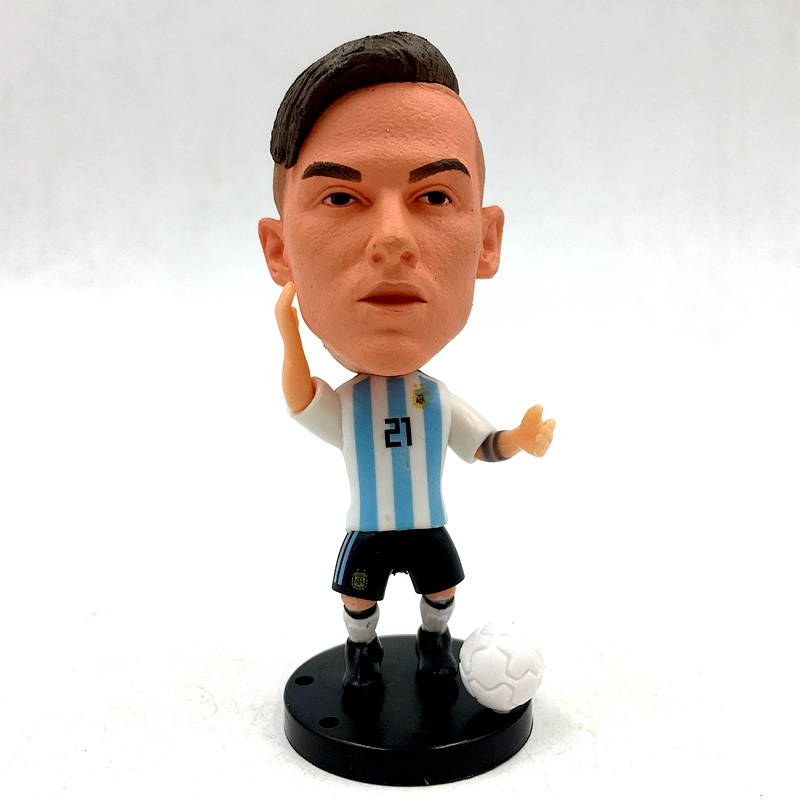 new product d1d7c ea465 US $3.91 29% OFF|Soccerwe Paulo Dybala Doll Argentina21# Football Team 2018  World White Kit Passer Figure 2.6 Inches Height Resin Base Assembly-in ...
